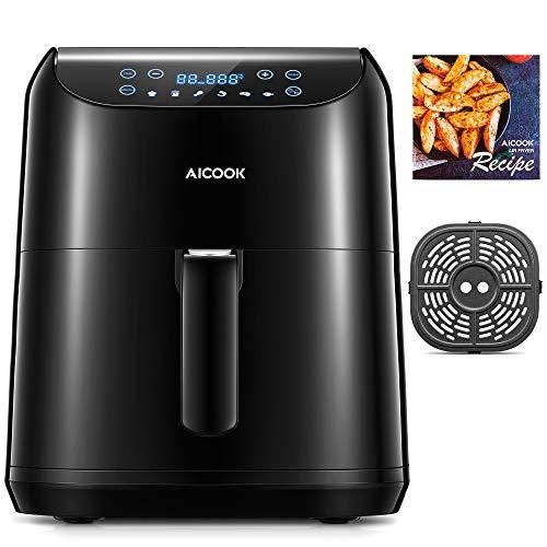 Aicook Heißluftfritteuse, 5.5L XXL für 4-6 Personen, 1700W Air Fryer mit Schneller Heizung, 6 Programmen, Selbst Einstellung der Teit und Temperatur, LED-Touchscreen, Rezepte, ohne Öl