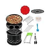 KAMELUN Air Fryer Zubehör-Set, Universal 9 Zoll 14Pcs XL Air Fryer Zubehör Passt Alle 5.3QT-6.8QT Einschließlich Back Basket/Pizza Pan/Silikonmatte/Egg Bites Mold
