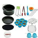 ZHANGY 130 Stück Air Fryer Zubehör 9 Zoll Fit für Airfryer 5.2-6.8QT Backkorb Pizzateller Grill Topf Küche Kochwerkzeug für Teil,130pcs