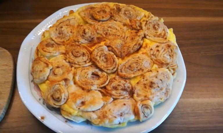 Zimtschnecken-Pudding- Kuchen aus der Heissluftfritteuse